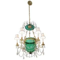 Elegant Gilt Bronze and Emerald Green Glass Chandelier