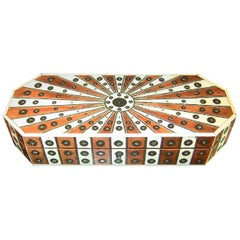 19th Century Anglo-Indian Vizagapatam Sunburst Pattern Octagonal Document Box