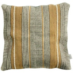Handwoven New Boho Wool Throw Pillow in Ochre and Grey, in Stock