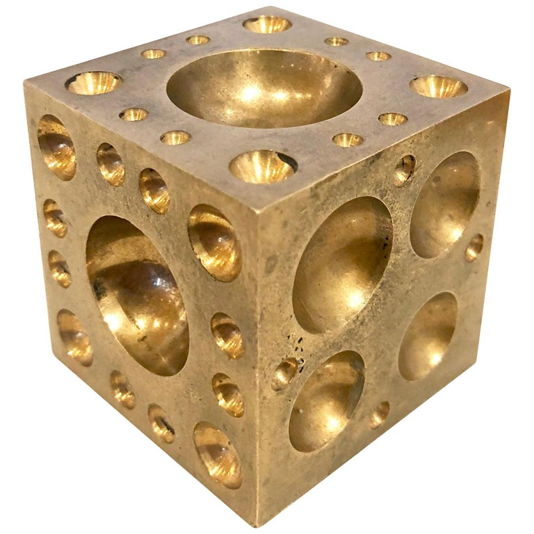 Solid Brass Cube Dice Sculpture Paper Weight For Sale
