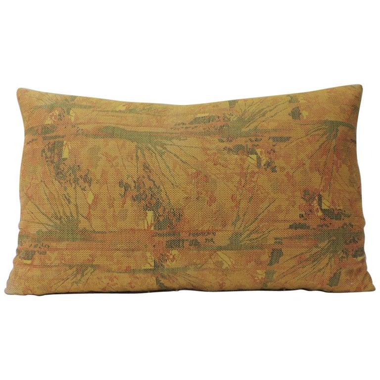 Vintage Orange Woven Japanese Obi Decorative Bolster Pillow