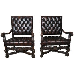 19th Century Italian Leather Tufted Armchairs, a Pair
