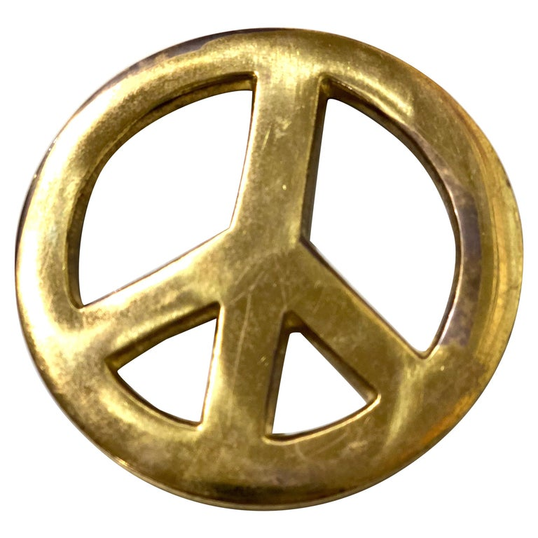 Patinated Solid Brass Vintage Peace Sign For Sale