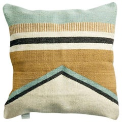 Handwoven New Boho Style Wool Throw Pillow in Ochre and Indigo, in Stock