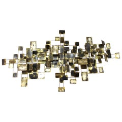 Curtis Jere Mid-Century Modern Abstract Brass Wall Sculpture