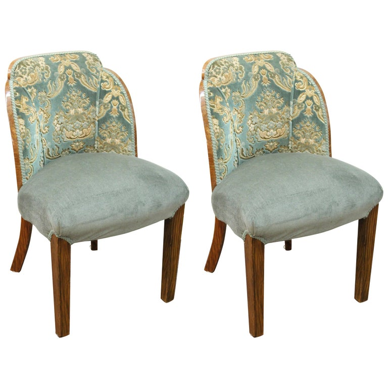 French Art Deco Rosewood Tub-Shaped Upholstered Chairs