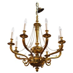 Hollywood Regency Neoclassical Style Chandelier in Gilt Metal
