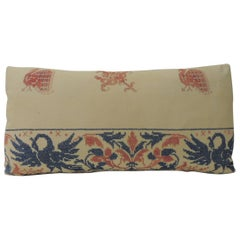 Greek Isle Red and Blue Embroidery Antique Decorative Pillow