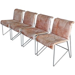 i4 Mariani Leather and Chrome Italian Modern Dining Chairs