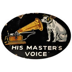 His Masters Voice Two-Sided Double Flange Porcelain Advertising Sign RCA
