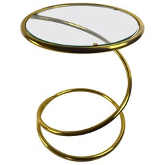 Brass Coil Spring Table Attributed to Pace