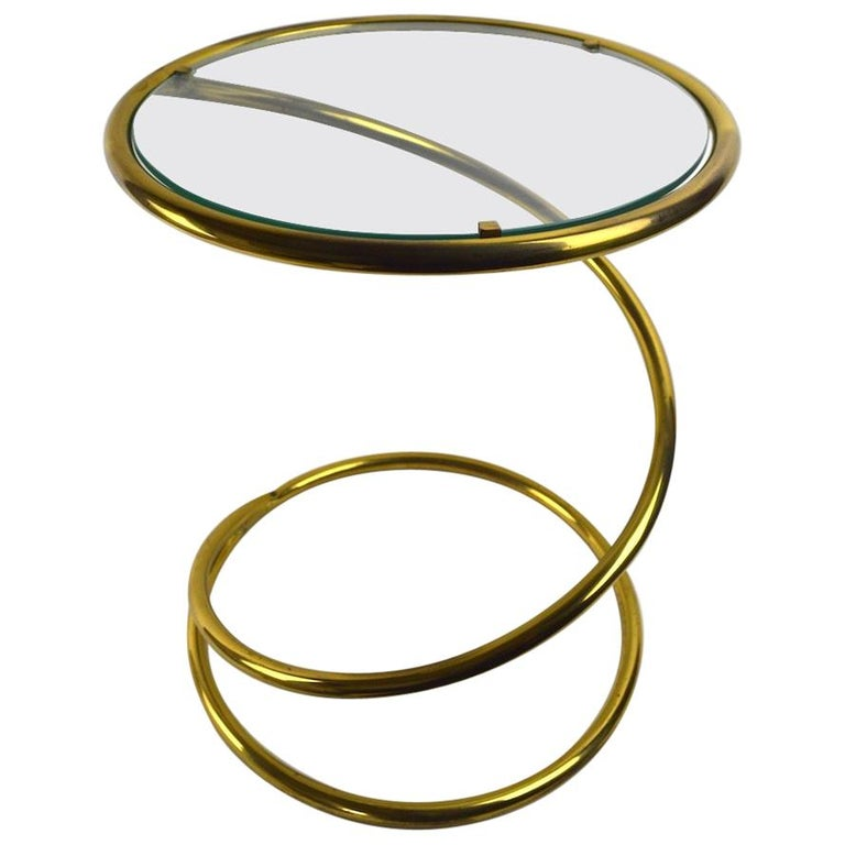 Brass Coil Spring Table Attributed to Pace For Sale