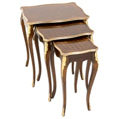Nest of 3 Parquetry and Ormolu-Mounted Side Tables