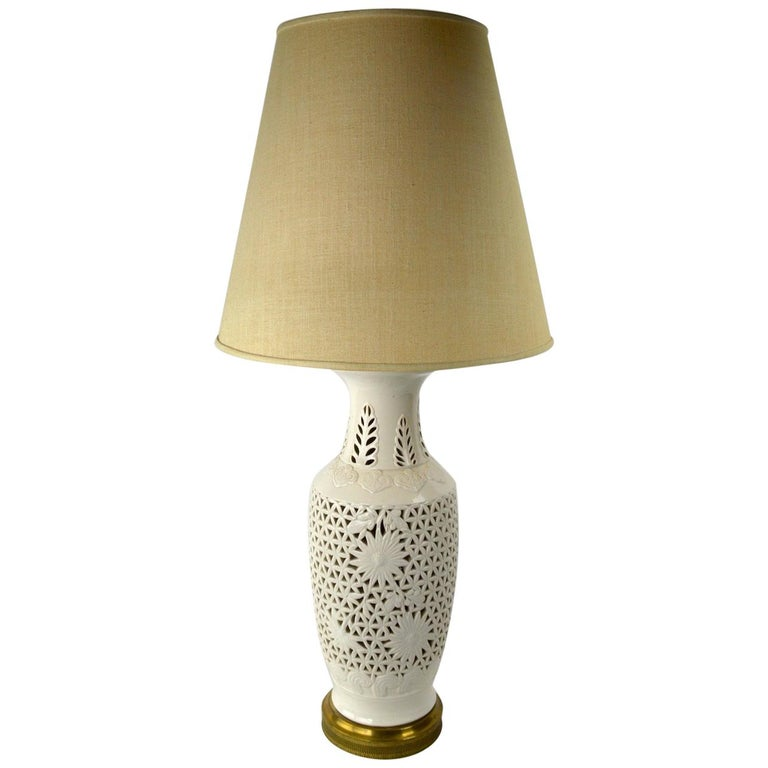 Reticulated Blanc de Chine Table Lamp For Sale
