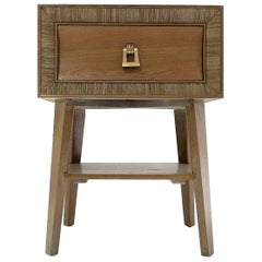 Paul Frankl for Brown Saltman Combed and Cerused Oak End Table or Nightstand