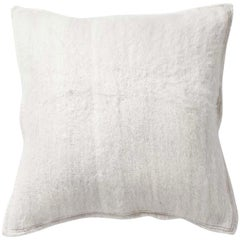 Handwoven Llama Wool Throw Pillow in Ivory, Made in Argentina, in Stock