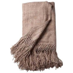 Handwoven Llama Wool Throw in Camel Made in Argentina, in Stock