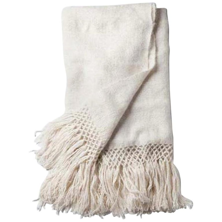 Handwoven Llama Wool Throw in Ivory Made in Argentina, In Stock For Sale