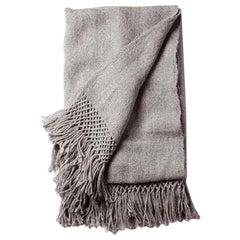 Handwoven Llama Wool Throw in Silver Made in Argentina