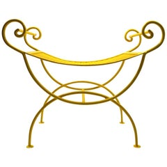 Saddle Seat Wrought Iron Vanity Bench