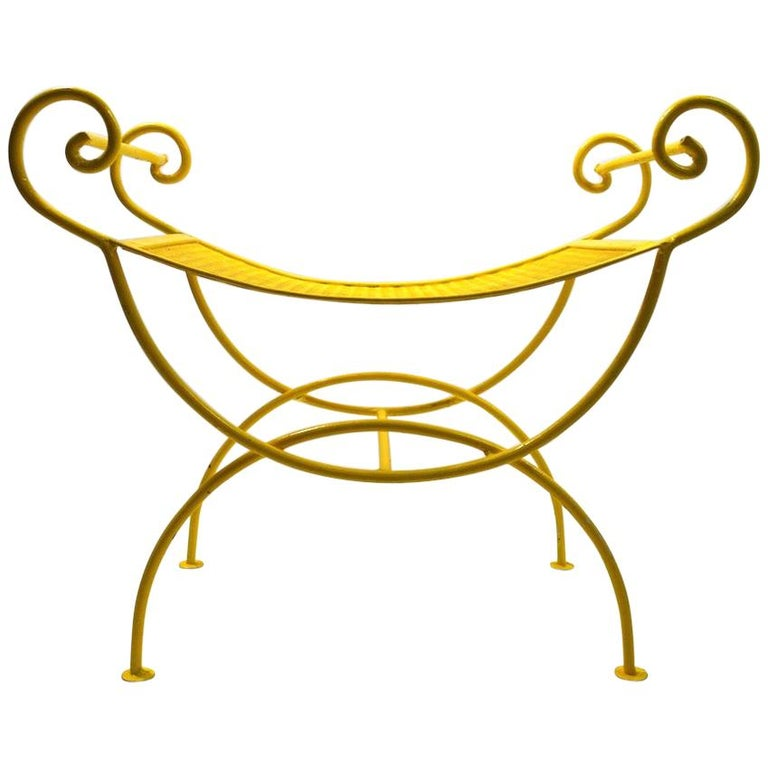 Saddle Seat Wrought Iron Vanity Bench For Sale