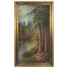 Landscape Painting of California Redwoods on the Riverbank, Dated 1927