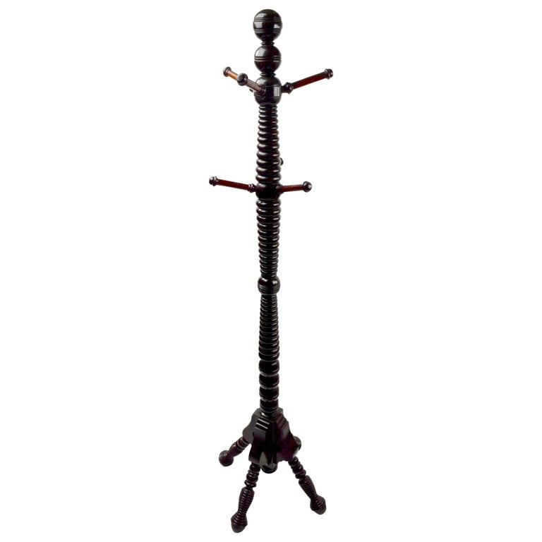 Turned Aesthetic Movement Eastlake Victorian Coat Tree Stand Hat Stand  For Sale