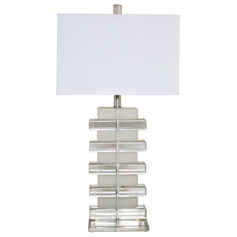 Karl Springer Style Stacked Lucite Table Lamp