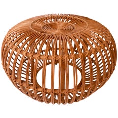 Wicker or Rattan Ottoman, Pouf, Stool or End Table by Franco Albini