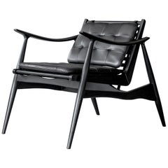 Black Atra Walnut and Leather Armchair by ATRA