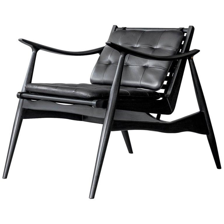Black Atra Walnut and Leather Armchair by ATRA