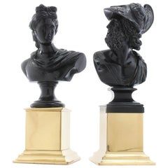 Fine Pair of Grand Tour Classical Portrait Busts of Menelaus and Apollo