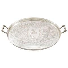 1890s Antique German Silver Galleried Tea Tray