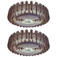 Three Extra Large Midcentury Chandeliers in Structured Glass and Brass, Europe
