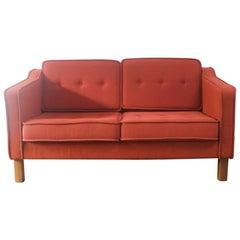 Danish 1970s midcentury two-seat sofa in the style of Borge Mogensen