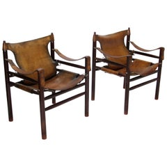 Vintage 1970s Hungarian Safari Armchair in the Manner of Arne Norell