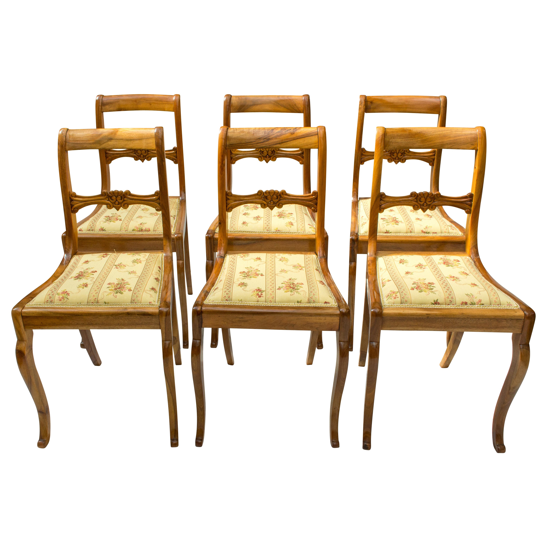 19th Century, Set of Six Solid Walnut Biedermeier Chairs
