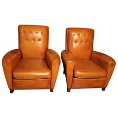 Pair of 1930s French Leather Club Chairs, Cognac Color