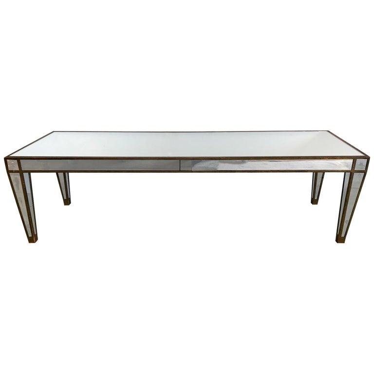 Sleek Glamorous Mirrored Rectangular Coffee Table