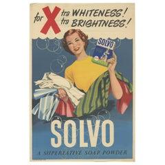 Original 1950s Poster of Solvo Soap Powder