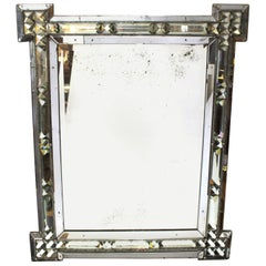 Italian Hollywood Regency Mirror with Glass Prism Border
