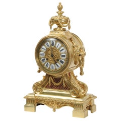 Antique French Gilt Bronze Drum Head Clock by Louis Japy