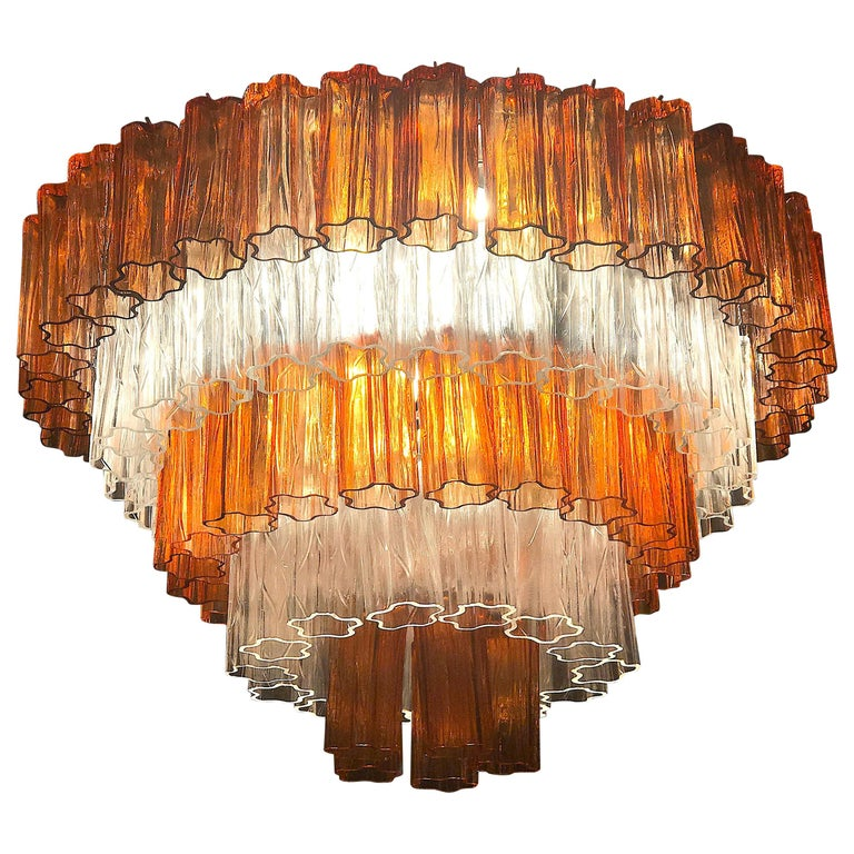 Venini Modern Amber and Ice Color Murano Glass Chandelier or Flush Mount, 1970