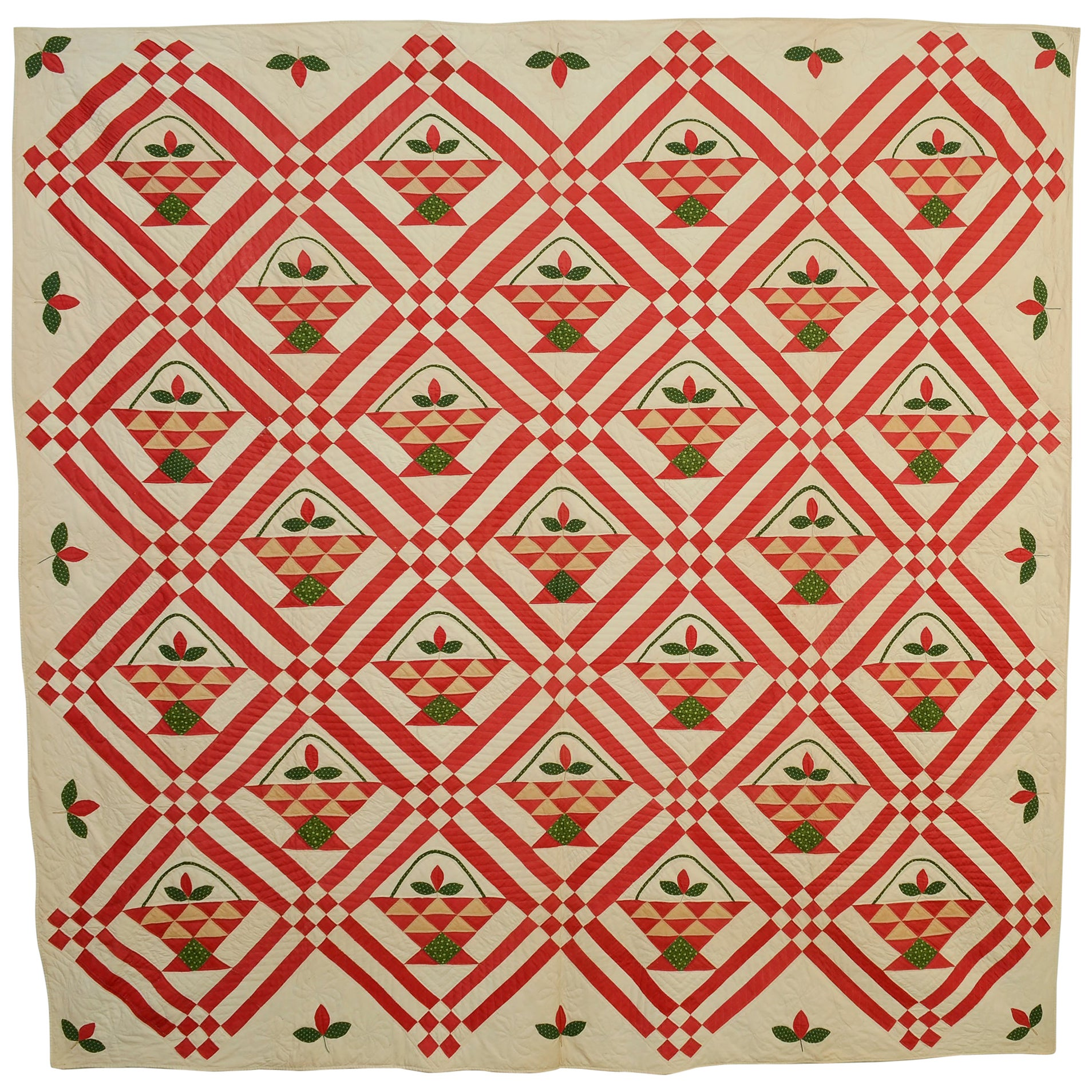 Baskets Quilt with Appliqued Flowers