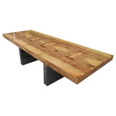 Milo Baughman Extendable Dining Table in Burl and Chrome