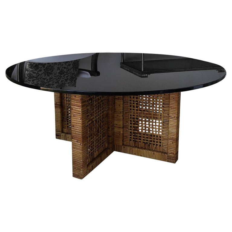 Woven Bamboo/Rattan Round Coffee Table, Smoked Glass Top, Italy, 1960s For Sale
