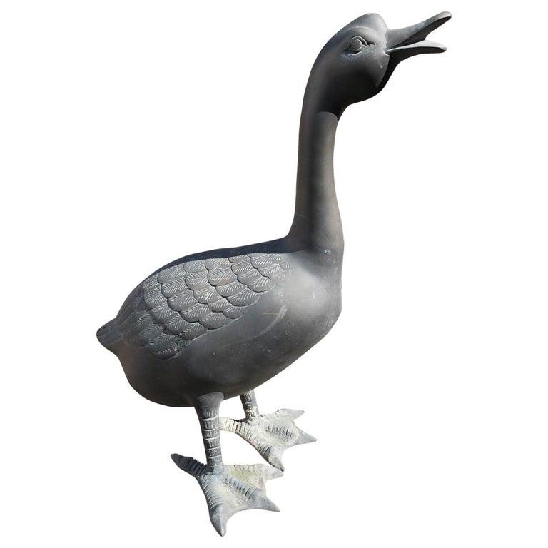 Large Japanese Duck Goose Handsome Cast Bronze with Fine Details