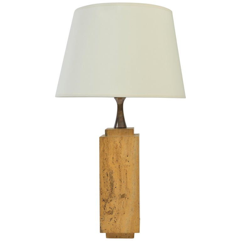 Travertine Table Lamp by Maison Barbier