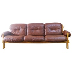 Danish Mid-Century Modern 1970s Brown Leather and Pine Sofa