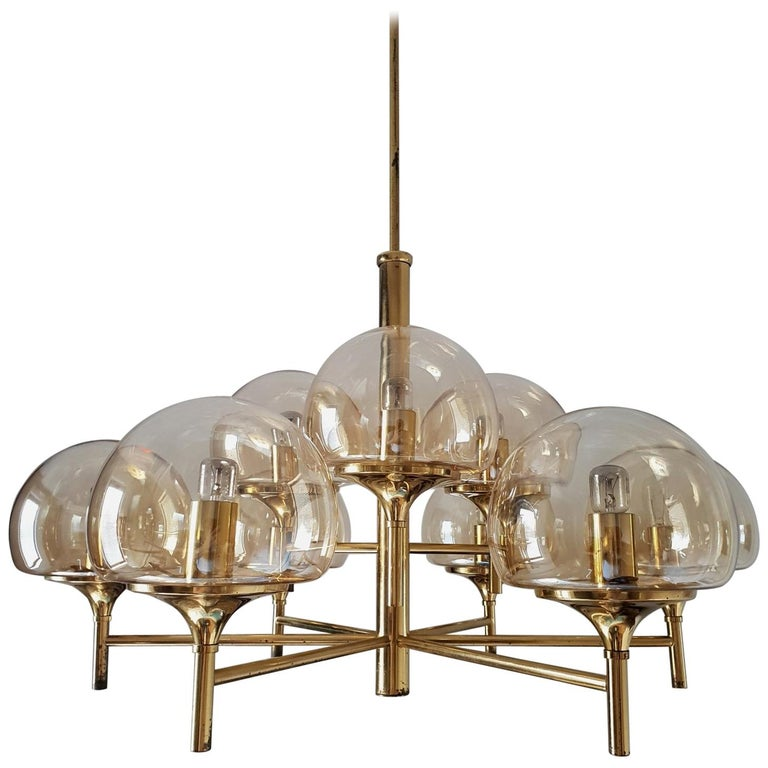 Nine-Arm Brass Chandelier with Glass Globes Style Hans-Agne Jakobsson, 1960s